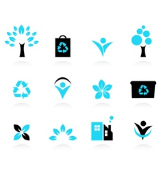 nature and environment icons vector image vector image