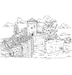 old ruins castle vector image vector image