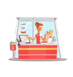 young girl cashier vector image vector image