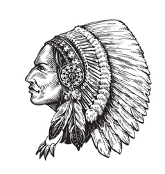 American indian chief Hand-drawn sketch vector image vector image