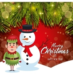 card christmas with snow and elf red bakcground vector image vector image