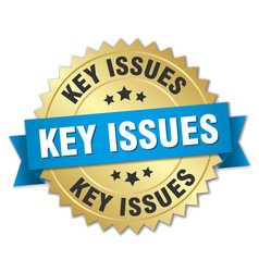 Key issues round isolated gold badge vector