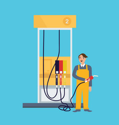 male employee standing in gas station holding fuel vector image