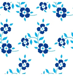 Seamless floral pattern Blue flowers leaves vector image