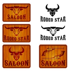 Set of saloon and rodeo emblems templates with vector image vector image