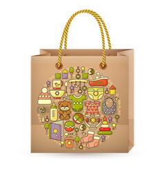 shopping bag and cute colorful baby icon vector image