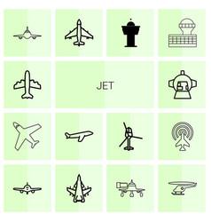 14 jet icons vector