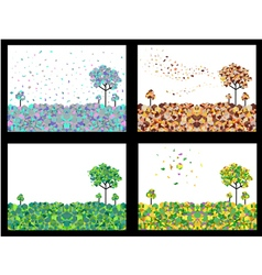 4 seasons geometric background set vector image