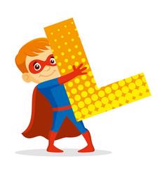 Abc letter l superhero boy cartoon character vector