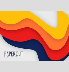 Abstract bright color papercut background vector