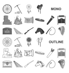 Attributes of the wild west monochrom icons in set vector