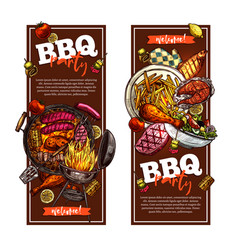 bbq and grill banners barbecue party vector image