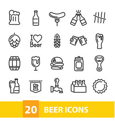 beer icons collection vector image