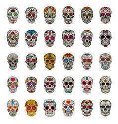Big set of mexican sugar skulls isolated on white vector