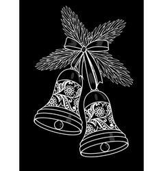 Black and white silhouette of a bell with a floral vector image vector image
