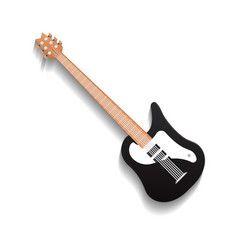 Black blues guitar isolated icon vector