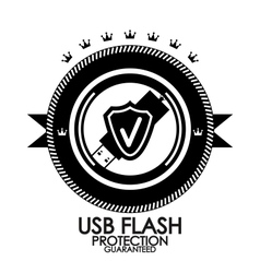 Black retro vintage label tag badge usb flash vector image