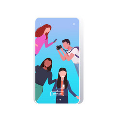 bloggers using digital camera and smartphone live vector image