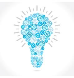 blue gear make bulb shape vector image