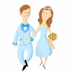 Bride and groom cartoon vector