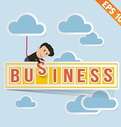 Cartoon Businessman with business billboard - vector image