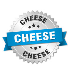 Cheese 3d silver badge with blue ribbon vector