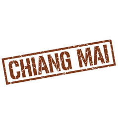 Chiang mai brown square stamp vector