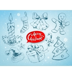 Christmas set on soft blue winter background vector image