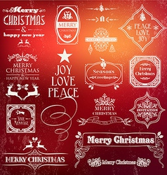 Christmas vintage label set vector image