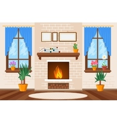 Classic living room interior with fireplace and vector
