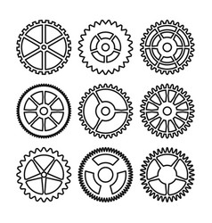 Clock gears outline icons set clock or vector