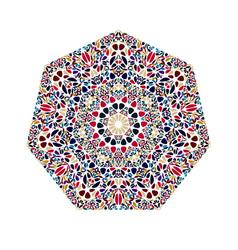 Colorful geometrical ornate flower ornament vector