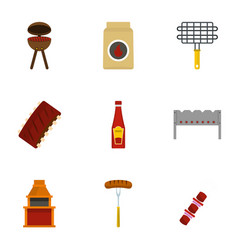 cooking on fire icons set flat style vector image