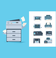 Copy machines different printers pc terminal of vector
