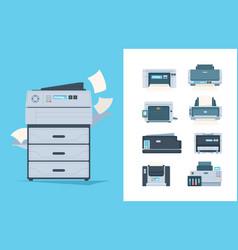 Copy machines different printers pc terminal vector