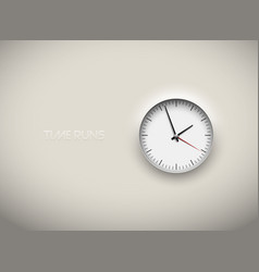 cut out white round clock time business vector image