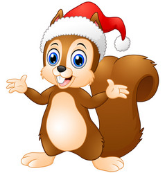 cute christmas squirrel cartoon vector image
