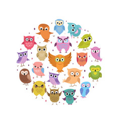 cute owls round banner cartoon funny forest birds vector image