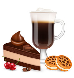 Dessert with coffee isolated on white background vector