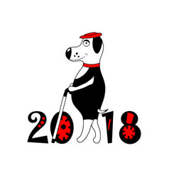 dog with hat and cane as symbol 2018 isolated vector image