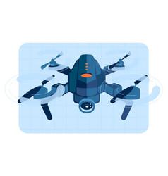 Drone copter in flight vector