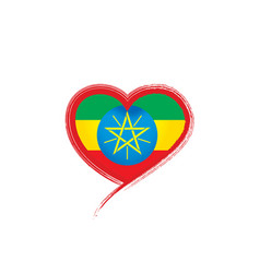 Ethiopia flag on a white vector