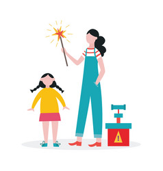Family lighting a sparkler or firework stick vector