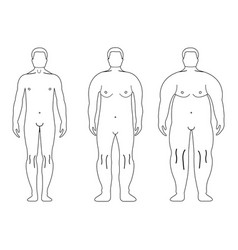 Fat european man outline style human front side vector