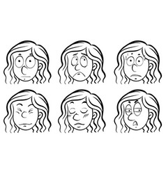 female face with different emotions vector image