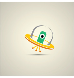 flat funny orange alien spaceship logo vector image