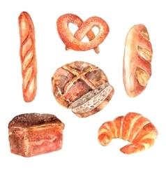 Fresh bread watercolor icons set vector