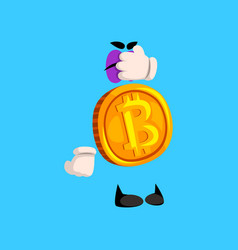 Funny bitcoin character closed eyes with its hand vector
