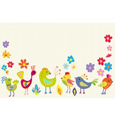 Funny Cartoon Color Birds vector