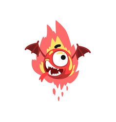 funny fire winged monster colorful fabulous vector image